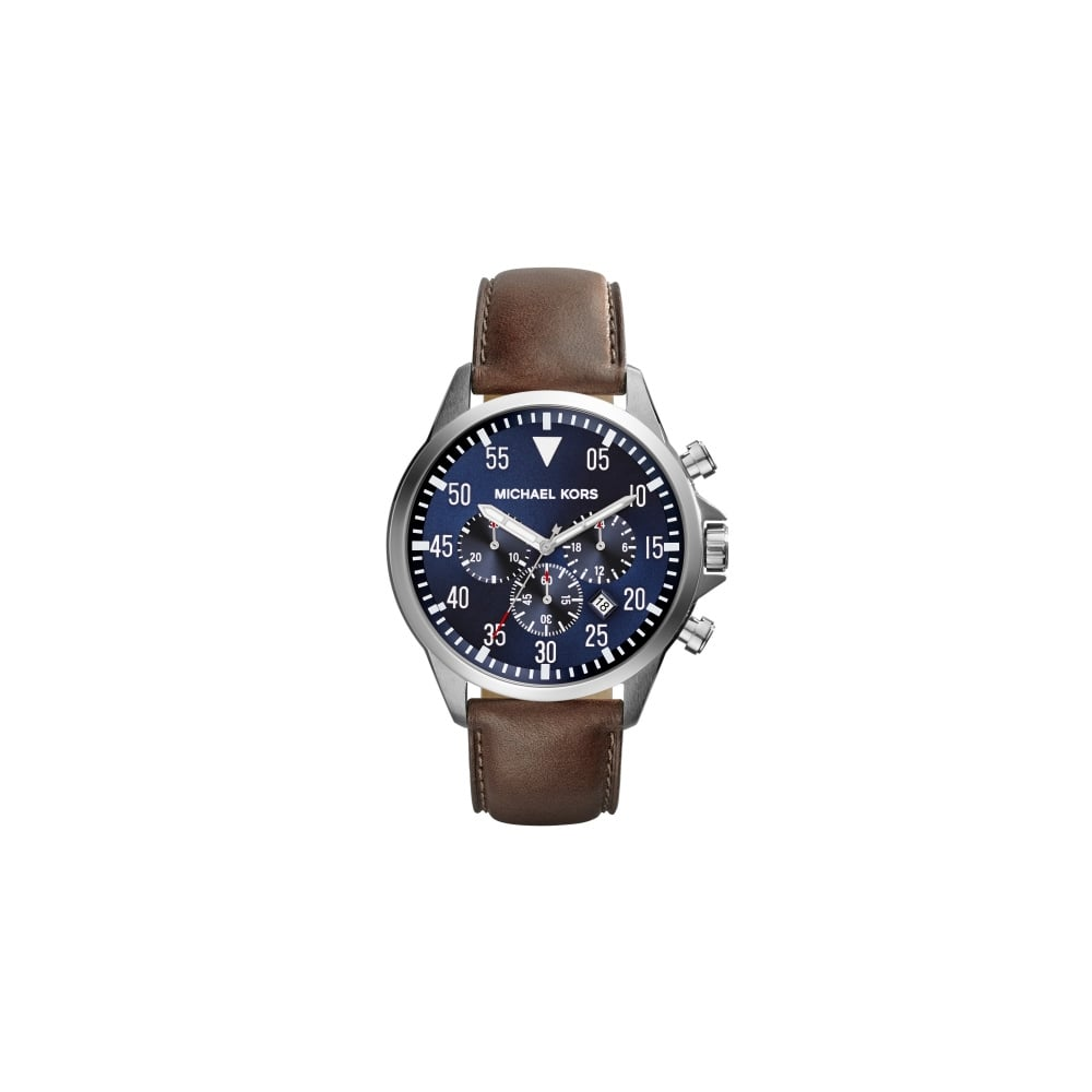 5344c2fa3562 Michael Kors Gage Gents Brown Leather Strap Watch - Men s Watches ...