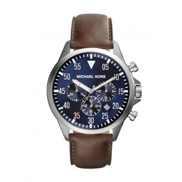 Michael Kors Gage Gents Brown Leather Strap Watch