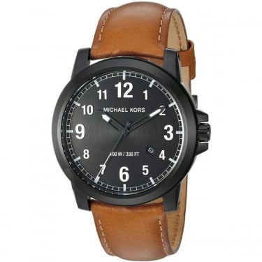 Michael Kors Gents Brown Leather Strap Paxton Watch
