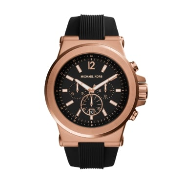 Michael Kors Gents Dylan Rose Gold Tone Silicone Strap Watch
