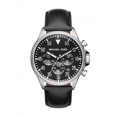 Michael Kors Gents Gage Black Dial Black Leather Strap Watch
