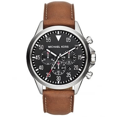 Michael Kors Gents Gage Tan Leather Strap Watch