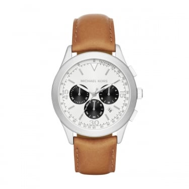 Michael Kors Gents Gareth Silver Dial Tan Leather Strap Watch