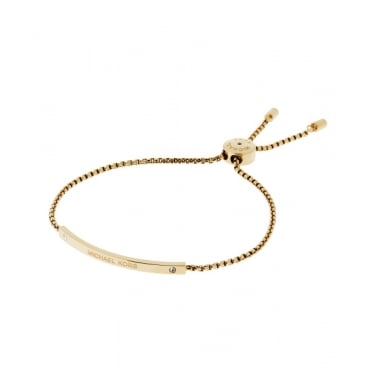 Michael Kors Gold Tone Logo Bar Toggle Bracelet
