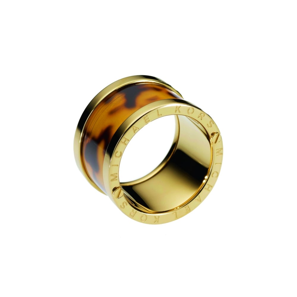 a31e52b73c505 Michael Kors Gold Tone Tortoise Barrel Ring - Jewellery from Faith ...