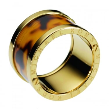 Michael Kors Gold Tone Tortoise Barrel Ring