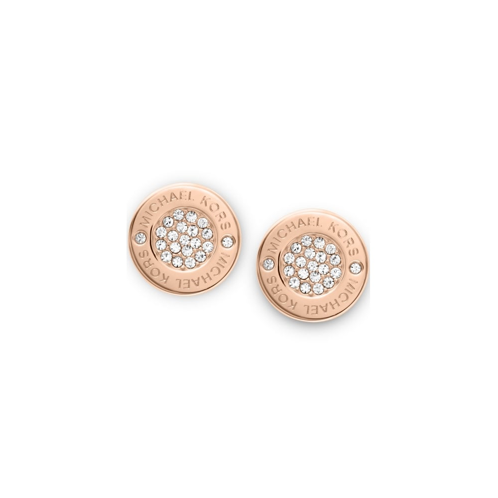 ca98492762a349 Michael Kors Heritage Rose Gold Pave Set Earring - Jewellery from ...