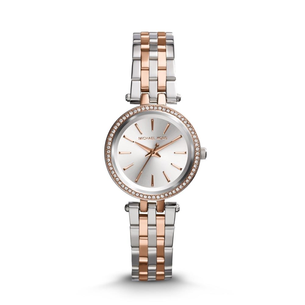 bd620e28d6f0f Michael Kors Ladies Metals Petite Darci Silver and Rose Gold Watch ...
