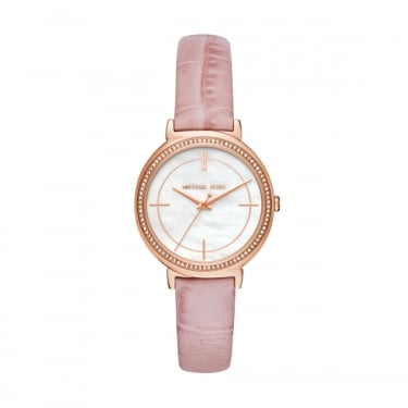 Michael Kors Ladies Pink Leather Cinthia Watch