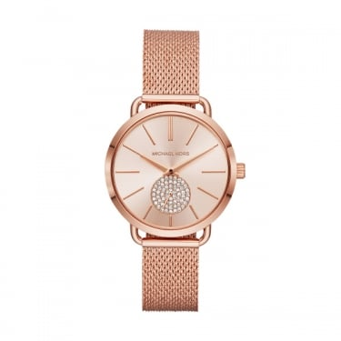 Michael Kors Ladies Portia Rose Gold Mesh Strap Watch