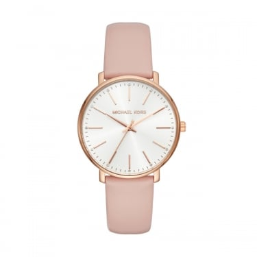 Michael Kors Ladies Pyper Rose Gold Pink Leather Watch