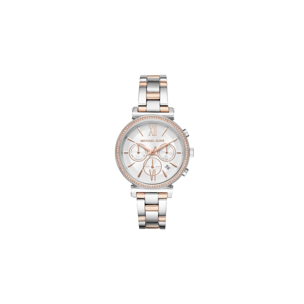 544e1a639c Michael Kors Ladies Sofie Silver and Rose Gold Watch - Women's ...
