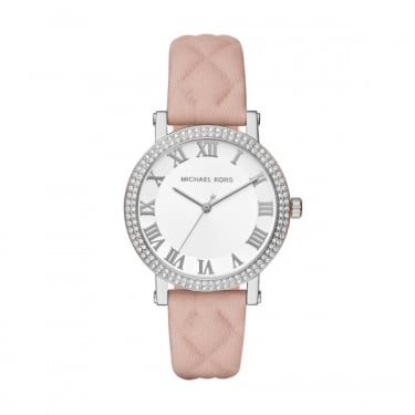 Michael Kors Norie Ladies Pink Leather Strap Watch