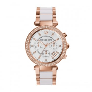 Michael Kors Parker Rose Gold and White Ladies Watch