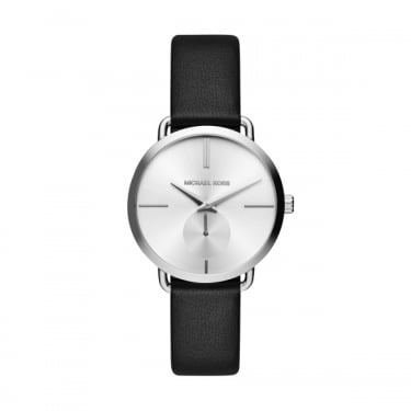 Michael Kors Portia Black Leather Strap Ladies Watch