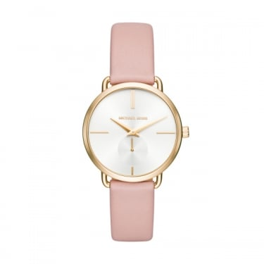 Michael Kors Portia Pink Leather Strap Ladies Watch