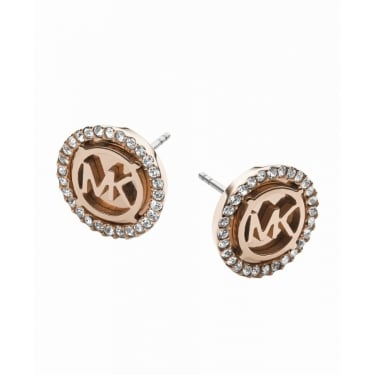 Michael Kors Rose Gold MK Heritage CZ Earrings