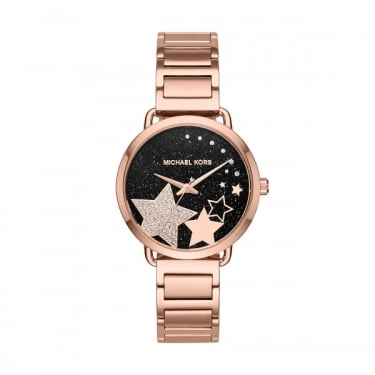 Michael Kors Rose Gold Portia Watch with Black Face and Stars