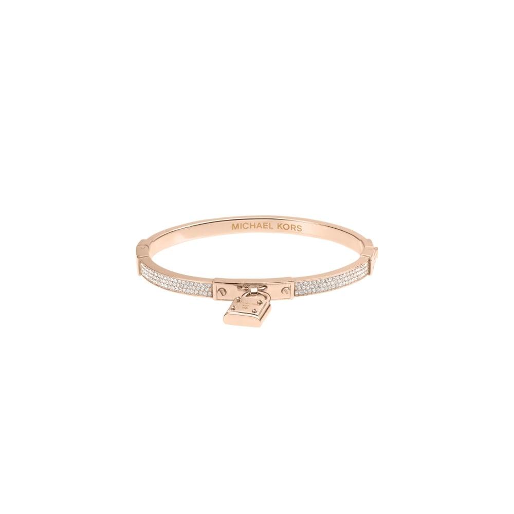 bf023dc36c931 Michael Kors Rose Gold Tone Clear Pave Padlock Hinge Bracelet ...