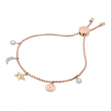 Michael Kors Rose Gold with Silver and Yellow Gold Charm Brilliance Bracelet