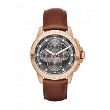 Michael Kors Ryker Gents Brown Leather Strap Watch