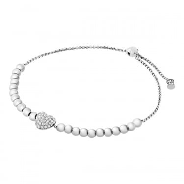 Michael Kors Silver Beaded with CZ Heart Brilliance Bracelet
