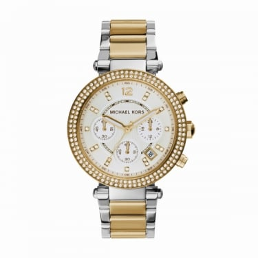 Michael Kors Sport Parker Silver and Yellow Gold Ladies Watch