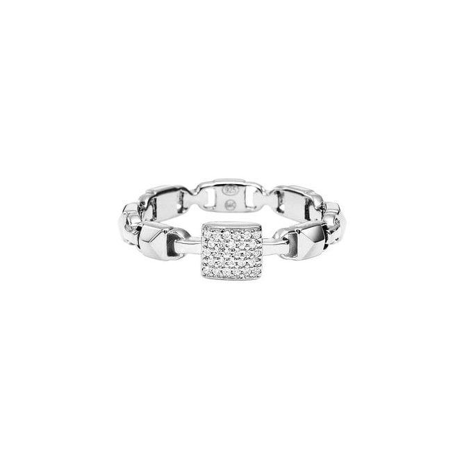 971ace279ee48 Michael Kors Sterling Silver Mercer Link CZ Ring - Rings from Faith ...