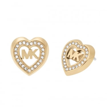 Michael Kors Yellow Gold Fashion Heart Earrings
