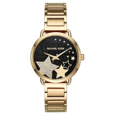Michael Kors Yellow Gold Portia Watch with Black Face and Stars