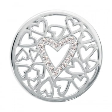 Nikki Lissoni Surrounded By Hearts Silver Medium Coin