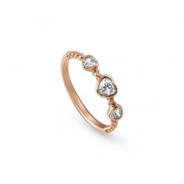 Nomination Bella Ladies Rose Gold CZ Heart Ring Size 6