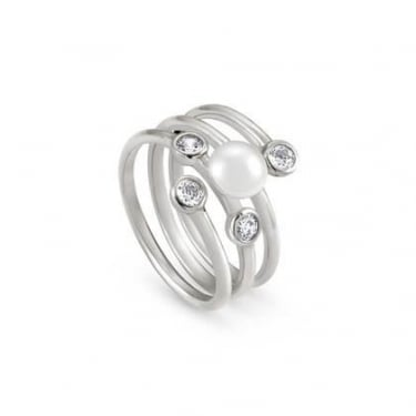 Nomination Bella Sterling Silver, CZ and White Pearl Triple Ring