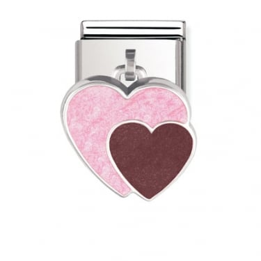 Nomination Double Heart Hanging Silver Shine