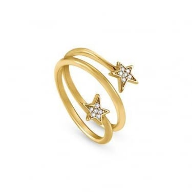 Nomination Stella Sterling Silver Yellow Gold Coloured CZ Stars Ring
