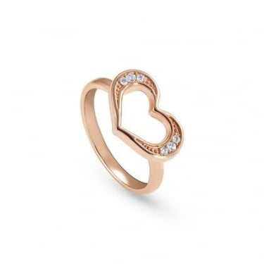 Nomination Unica Sterling Silver Gold Pink Heart Ring