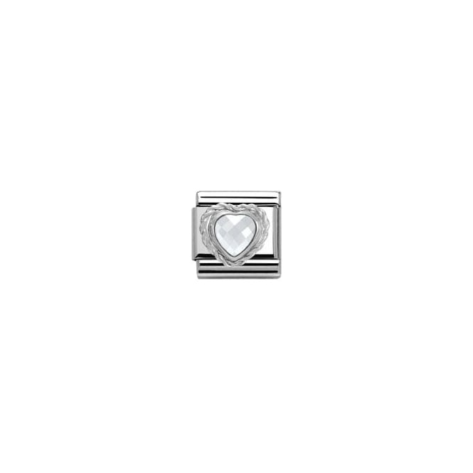 Nomination White CZ Heart with Trim Silver Shine - Charms from Faith ... a6085c80d24d