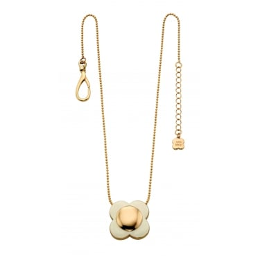 Orla Kiely Gold Plated Cream Flower Necklace