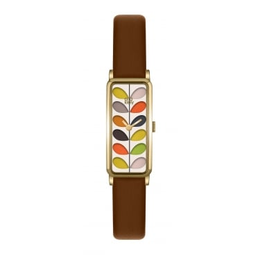 Orla Kiely Ladies Brown Leather Strap Watch