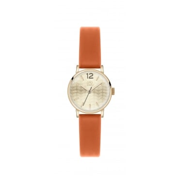 Orla Kiely Ladies Watch Coral Leather Strap