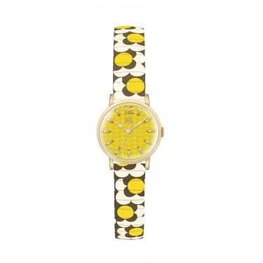 Orla Kiely Ladies Yellow and Grey Floral Leather Strap Watch