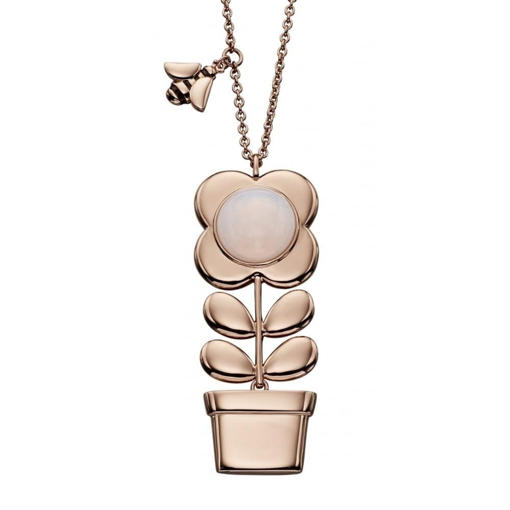 Orla Kiely Rose Gold and Rose Quartz Flower Pot Necklace - Jewellery ... cea401a54