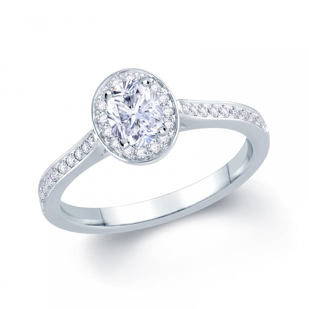 432ffdf5b7f34 Palladium 0.30ct Oval Cut Centre Stone with 0.15ct Round Brilliant Halo  Diamond Engagement Ring