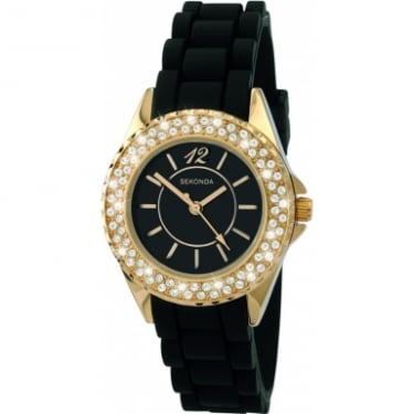 Partytime Black Gold CZ Watch