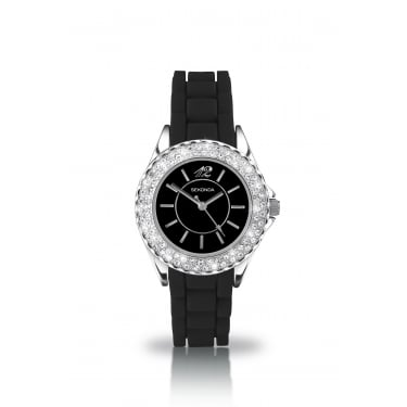 Partytime Black CZ Face Watch