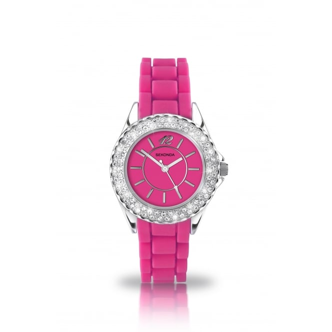 Party Time Partytime Pink CZ Face Watch