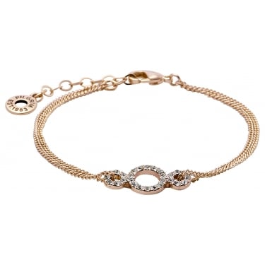 Pilgrim Rose Gold Coloured Crystal Bracelet