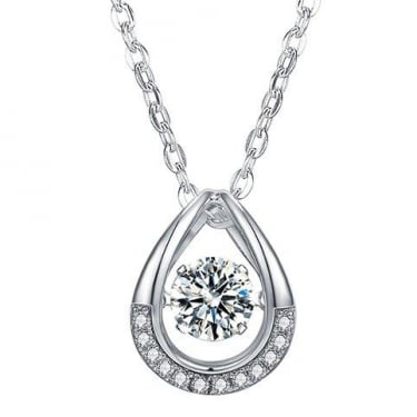 Piroutte Silver Swarovski Stone Tear Drop Necklace