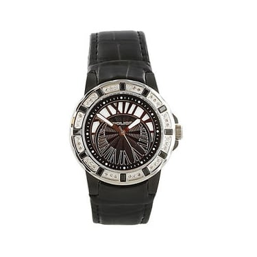 Police Black Leather Strap Watch