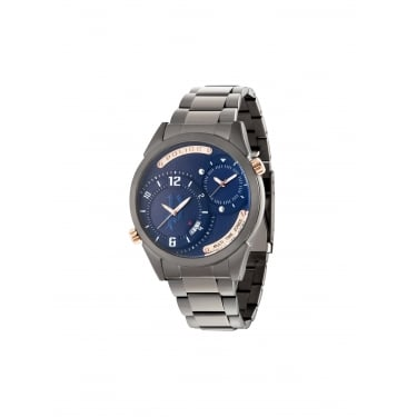 Police Dugite Silver Strap with Navy Face Watch